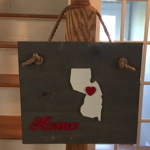Other - NJ ♥️ home hanging wood sign
